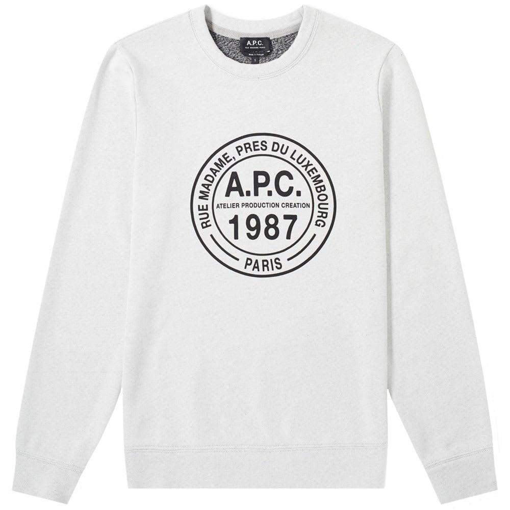 A.P.C Elvis Crew Logo Sweatshirt Colour: GREY, Size: LARGE