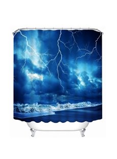 Lightning in the Seaside 3D Printed Bathroom Waterproof Shower Curtain