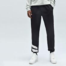 Sport Hose mit Buchstaben Grafik und Kordelzug auf Taille