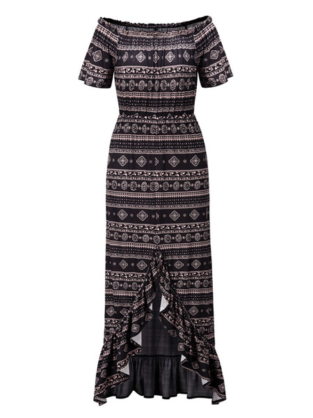Milanoo Boho Dress Off The Shoulder Short Sleeves Printed Ruffles Summer Dress
