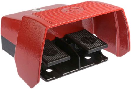 Bernstein AG 606 Series Emergency Stop Foot Switch with Cover, 2 Pedal, Momentary Contacts, 2NO/2NC
