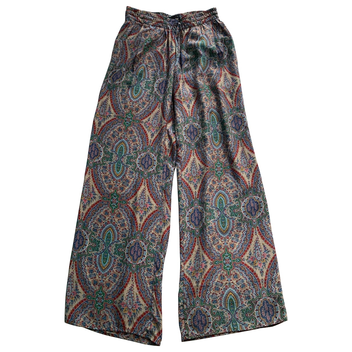 Zara \N Multicolour Silk Trousers for Women M International