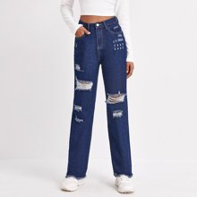 High Waist Ripped Raw Hem Straight Jeans