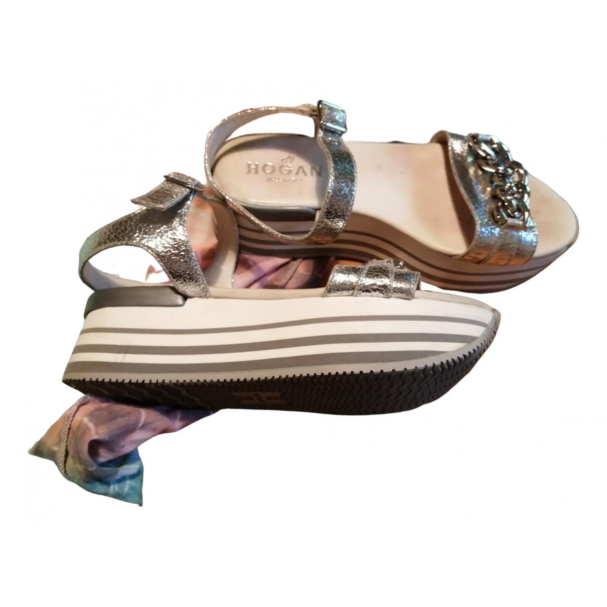 Hogan - Sandales   pour femme en cuir - argente