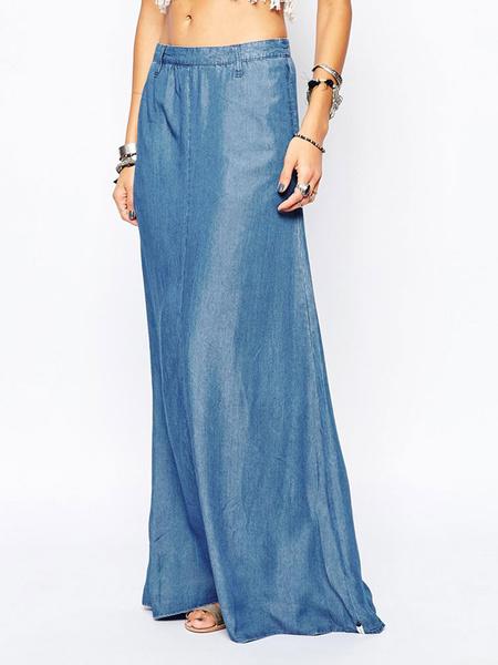 Milanoo Falda larga para mujer Falda de seda azul como verano