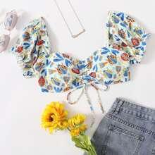 Ladybug Print Drawstring Bikini Top