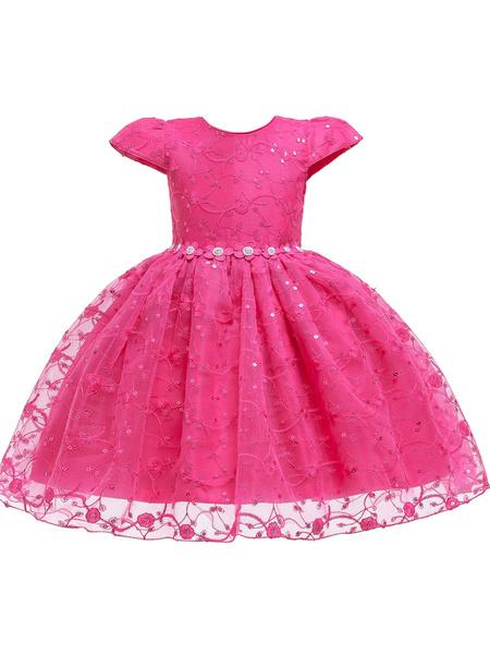 Milanoo Flower Girl Dresses Jewel Neck Polyester Cotton Short Sleeves Knee Length Princess Silhouette Flowers Kids Social Party Dresses