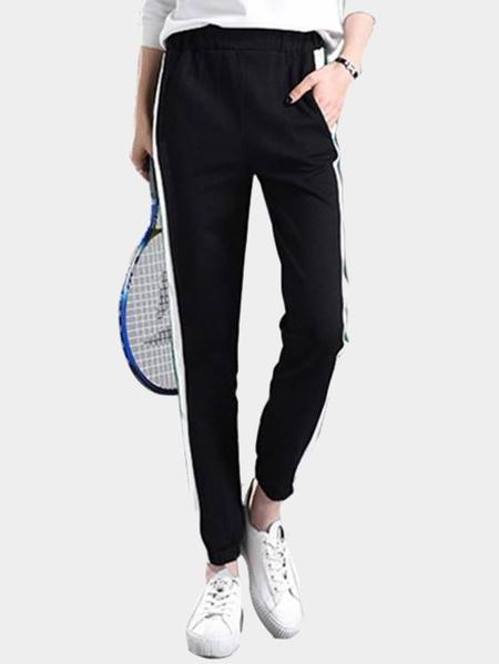 Yoins  Active Stripe Pattern Stitching Drawstring Waist Sports Pants in Black