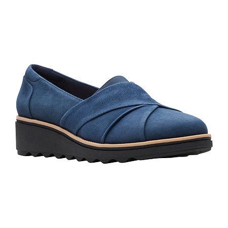 Clarks Womens Sharon Form Slip-On Shoe-Wide Width, 8 Wide, Blue