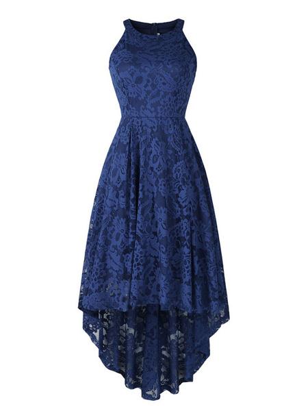 Milanoo Vestidos joya Alto Bajo cordon del cuello sin mangas vestidos de las mujeres