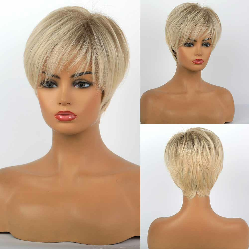 10 Inch Women Mixed Color Short Straight Hair Wig Fluffy Fashionable Fynthetic Artificial Hair