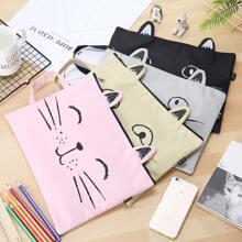 1pc Cat Design Random File Bag