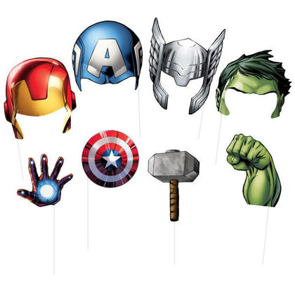 Avengers Assemble Photo Booth Props, 8ct For Birthday Party