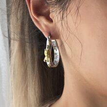 Letter Detail Hoop Earrings