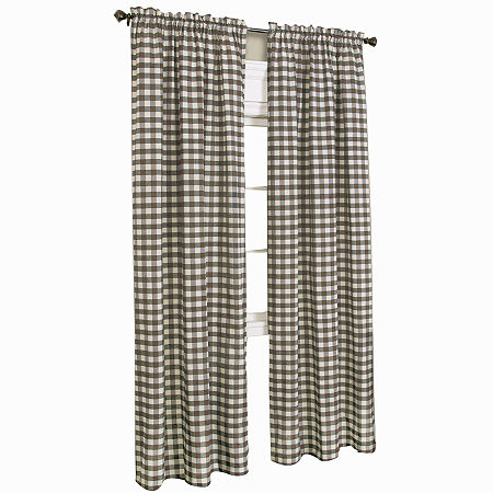 Buffalo Check Light-Filtering Rod-Pocket Single Curtain Panel, One Size , Brown