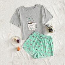 Pajama Set mit Kaffee & Buchstaben Grafik