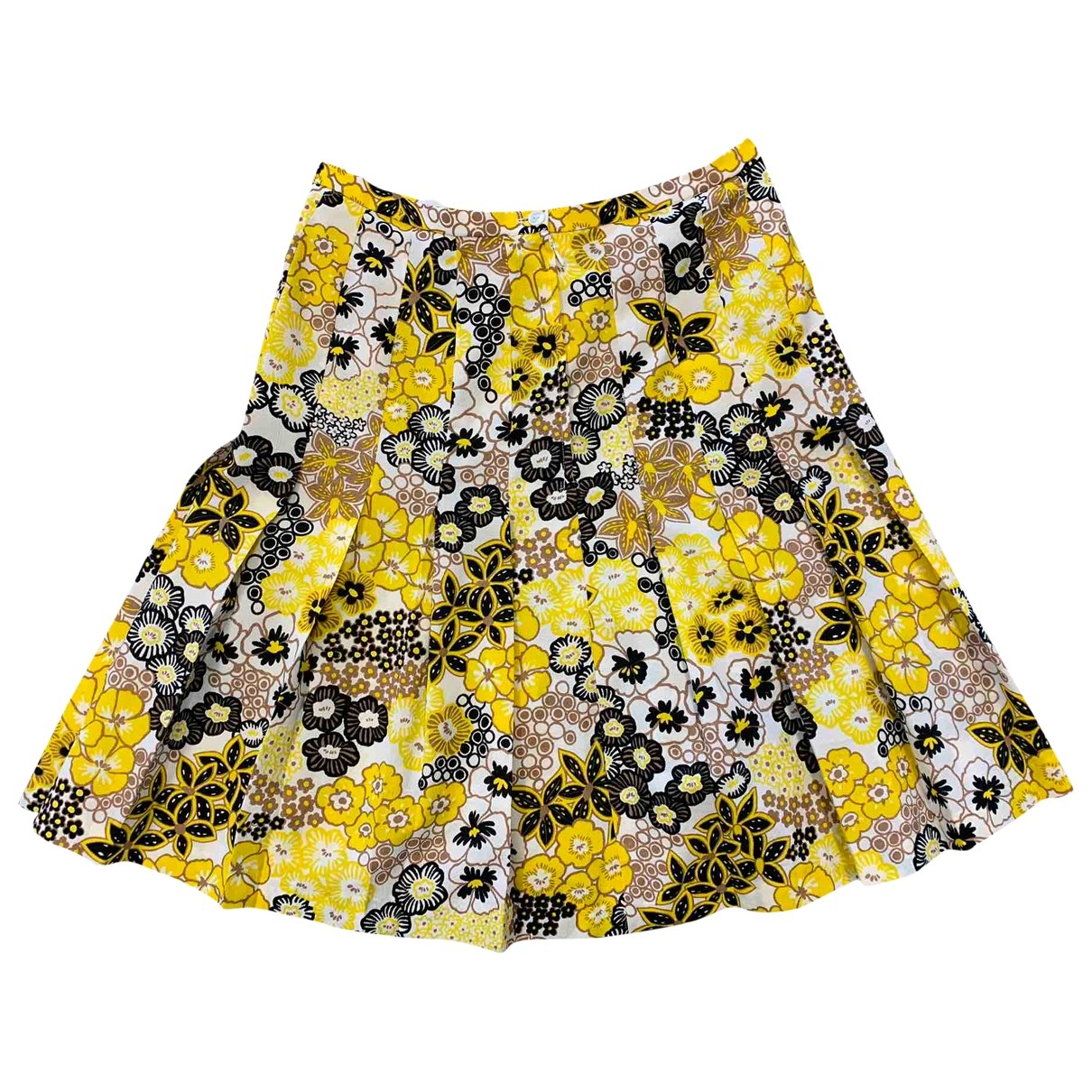 Non Signé / Unsigned Hippie Chic Yellow skirt for Women 40 FR