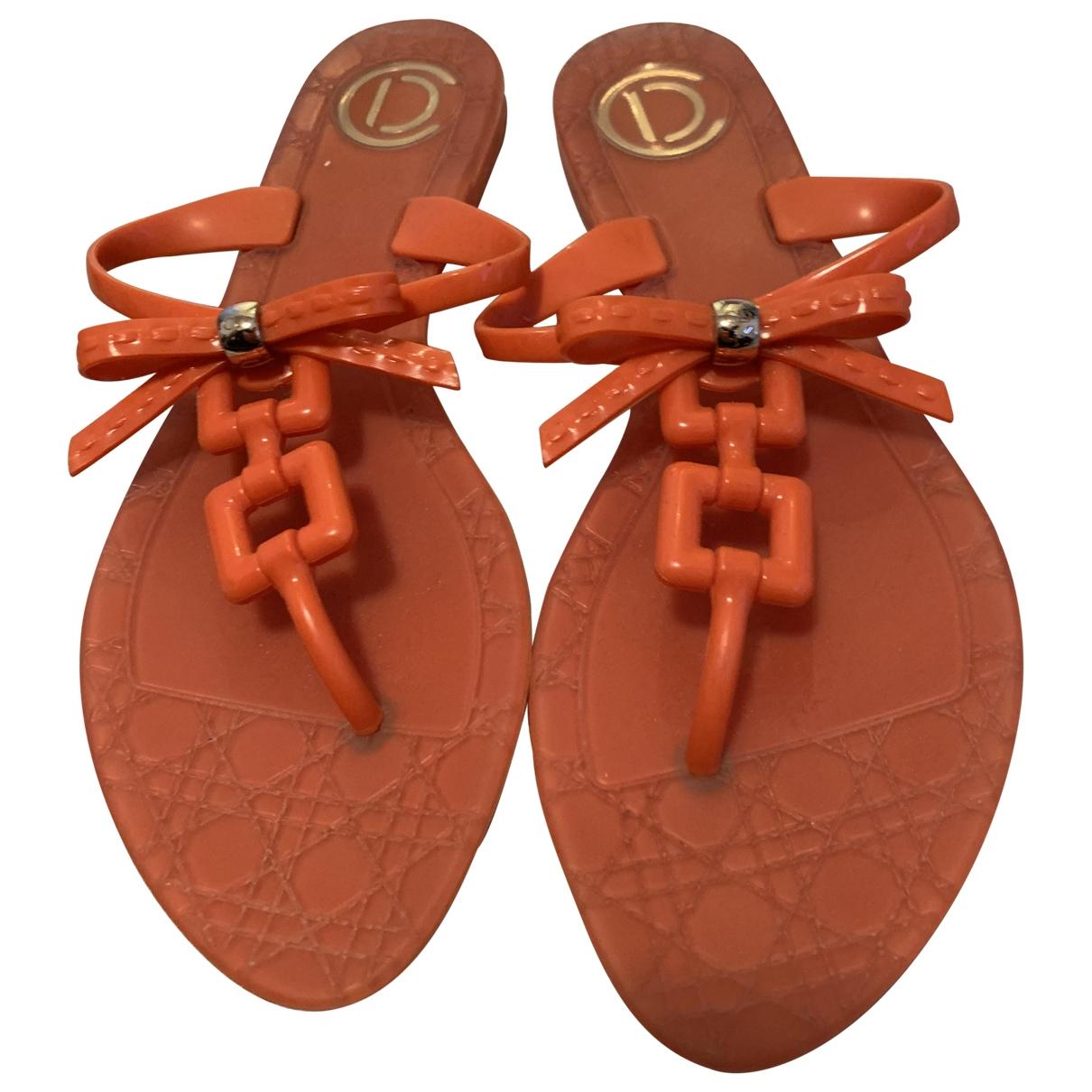 Dior \N Orange Rubber Sandals for Women 38 EU