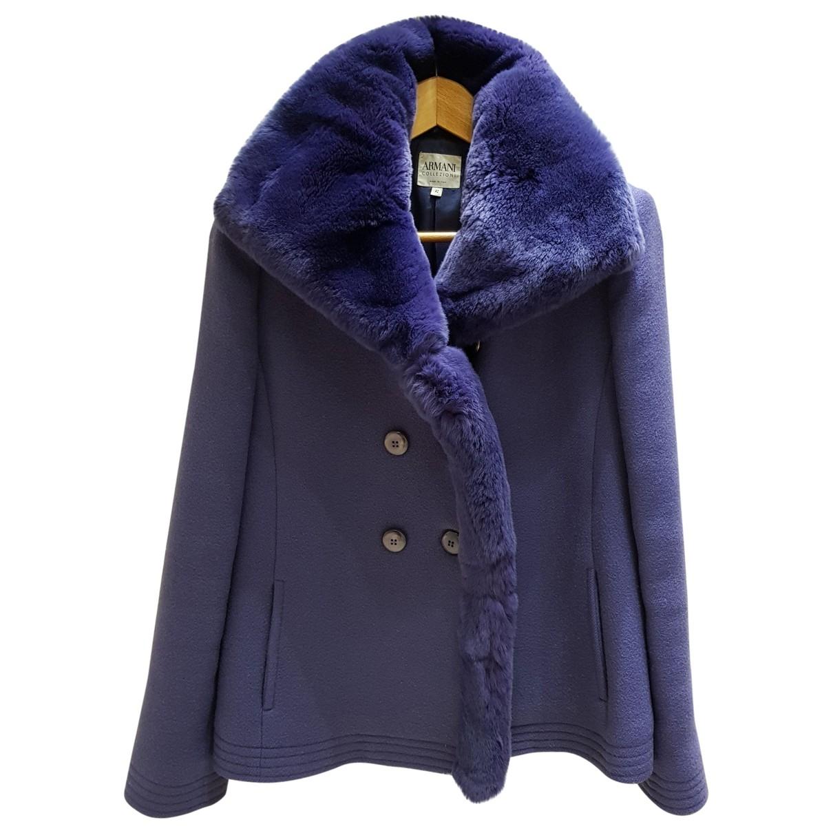 Armani Collezioni - Manteau   pour femme en laine - violet
