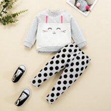 Baby Girl Cartoon Graphic 3D Ear Sweatshirt & Polka Dot Sweatpants