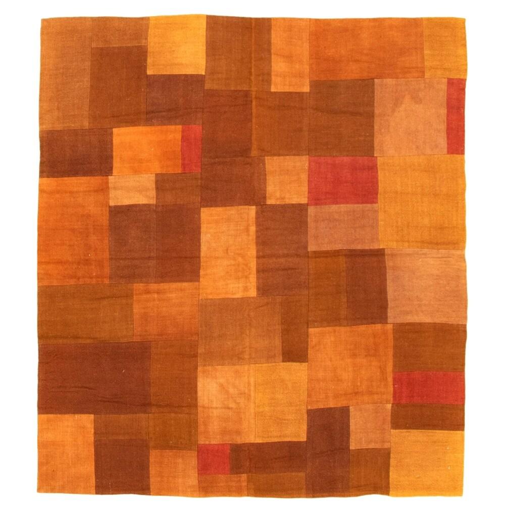 ECARPETGALLERY Flat-weave Moldovia Patch Brown Wool Kilim - 4'7 x 5'2 (Brown - 4'7 x 5'2)