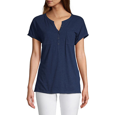 St. John's Bay Womens Henley Neck Short Sleeve Henley Shirt, Petite Large , Blue
