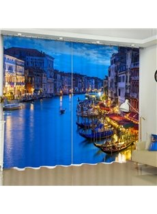 3D Coastal City Night Scenery Printed Modern Style Custom Living Room Curtain