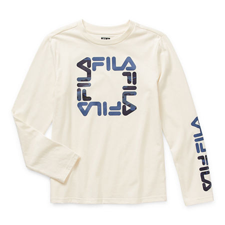 Fila Big Boys Round Neck Long Sleeve T-Shirt, Large (14-16) , White