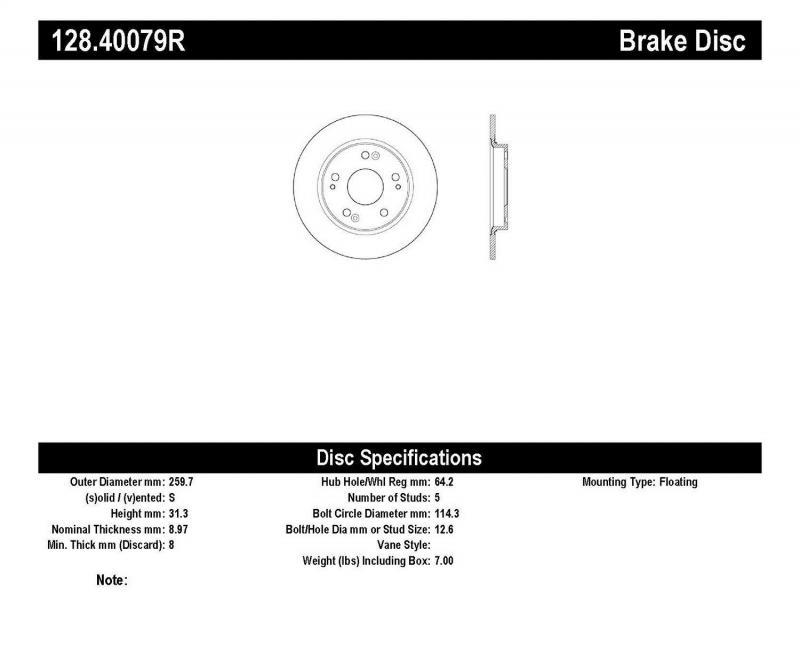 StopTech 128.40079R Sport Cryo Cross Drilled Brake Rotor; Front Left Honda CR-Z Rear Right 2011-2015