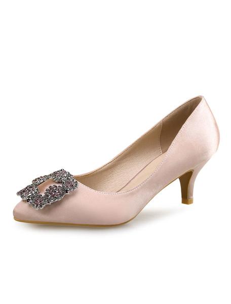 Milanoo Sky Blue Kitten Heel Wedding Pumps Jewel Toe Satin Pointed Toe Rhinestones Bridal Shoes