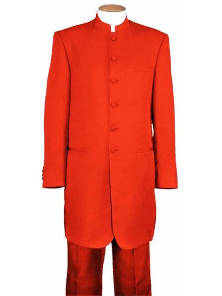 Mens Mandarin Collar Hot Red 6 Button Wool Two Piece Long Jacket
