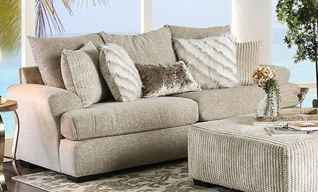 Anthea SM5140-SF Sofa with Block Legs  Stitched Detailing and Woven Fabric Upholstery in