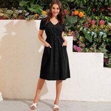 V-neck Button Front Dual Pockets A-line Dress