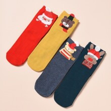 4 Paare Socken mit Weihnachten Karikatur Grafik