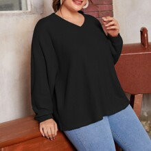 Plus Solid Drop Shoulder Waffle Knit Tee
