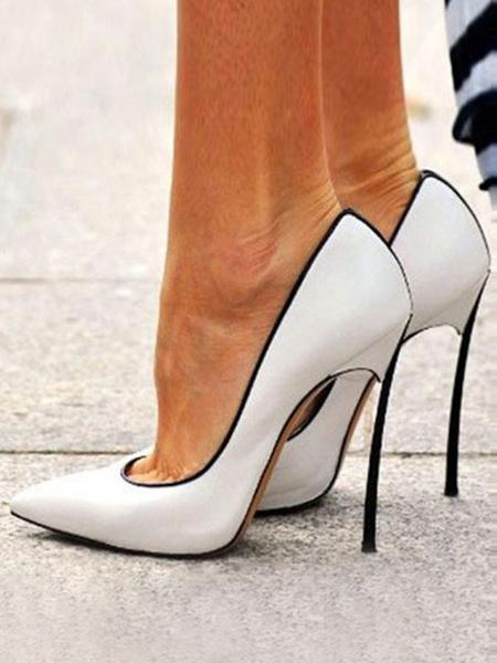 Milanoo Zapatos de tacon de aguja con punta puntiaguda sin cordones para mujer Tallas grandes Tacones altos elegantes Blanco