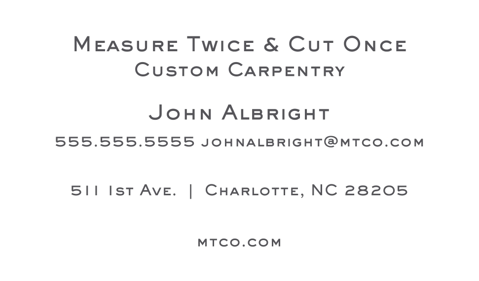 Construction & Repair Business Cards, Set of 40, Rounded Corners, Card & Stationery -Measure Twice