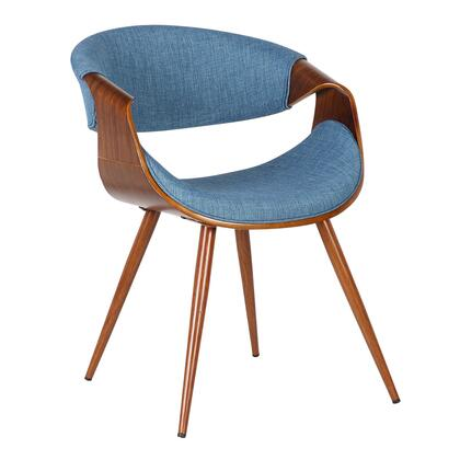 Butterfly Collection LCBUCHWABL Dining Chair with Mid-Century Style  Curved Backrest  Walnut Veneer Wood Frame  Tapered Legs and Polyester Fabric