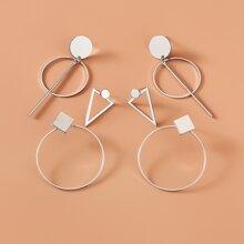 3pairs Geometric Design Earrings