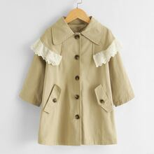 Toddler Girls Contrast Schiffy Trim Single Breasted Trench Coat