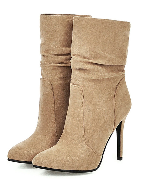 Milanoo Womens Mid Calf Boots Pointed Toe Stiletto Heel Fall Boots