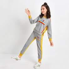 Conjunto pullover con bordado con letra de rayas con pantalones
