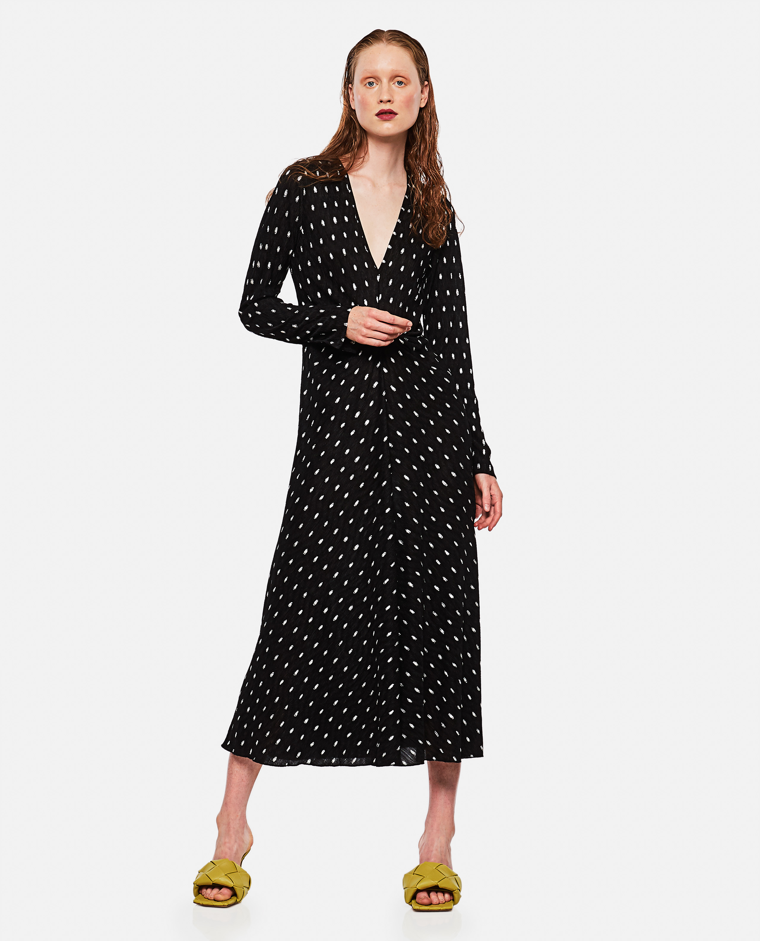 Long black dress with polka dot pattern