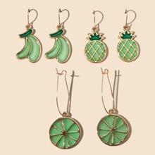 3 pares pendientes largos con diseño de fruta