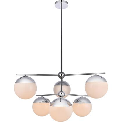 LD6142C Eclipse 6 Light 36 inch Chrome Pendant Ceiling Light With Frosted White
