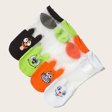 4 pares calcetines con patron de emoji