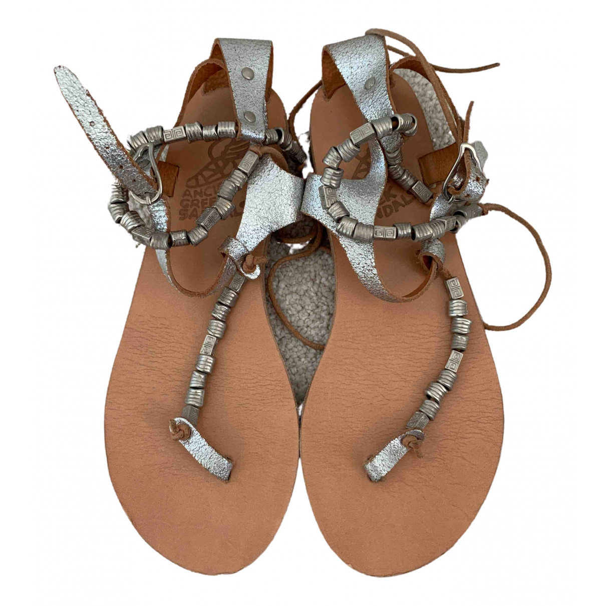 Ancient Greek Sandals \N Silver Leather Sandals for Women 36 EU