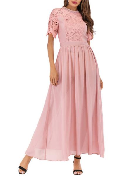 Milanoo Jewel Maxi vestidos de manga corta de cuello rosa volantes de encaje hueco hacia fuera el vestido largo de la gasa