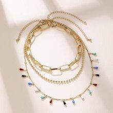 Waterdrop Tassel Layered Chain Necklace