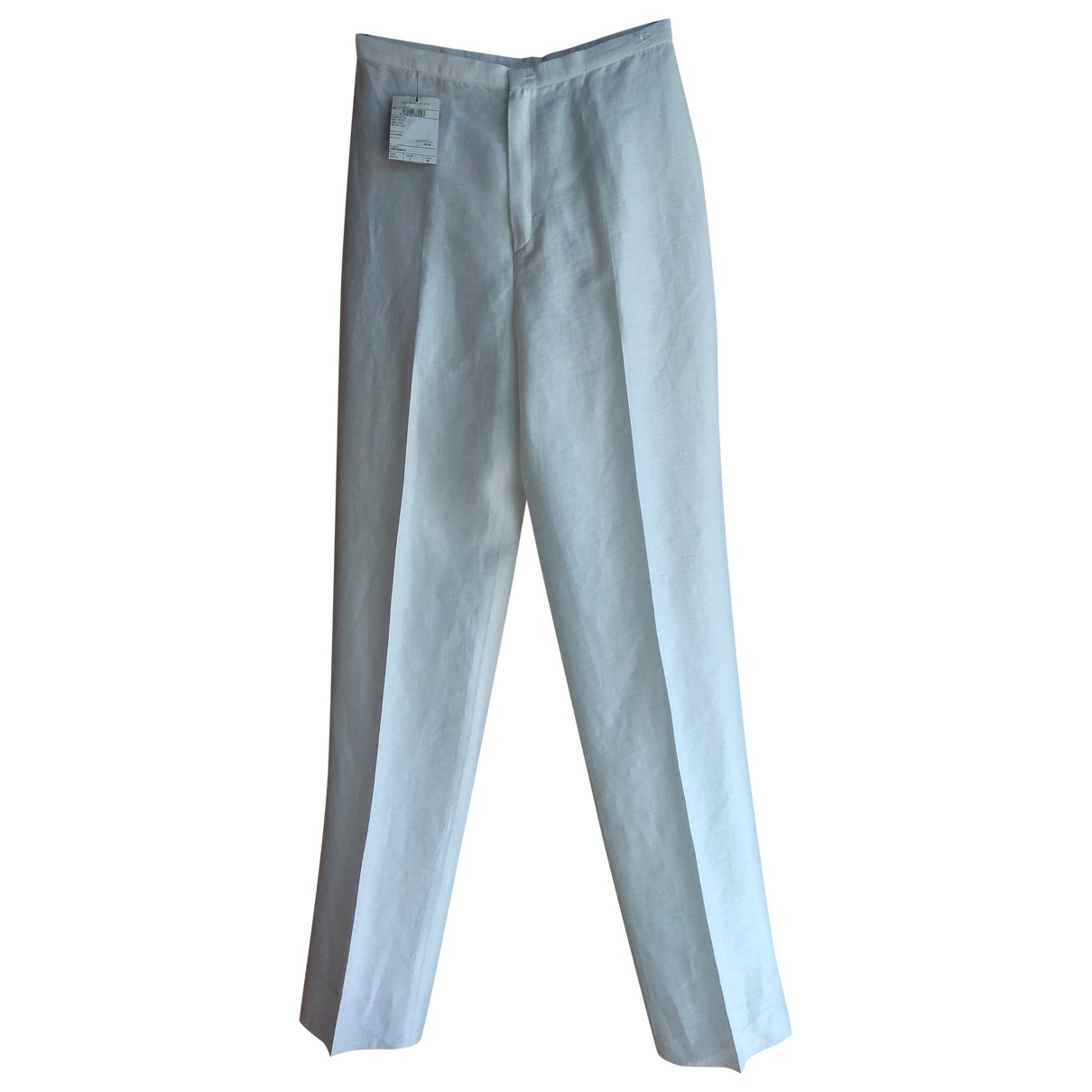 Burberry \N Ecru Linen Trousers for Women 40 IT